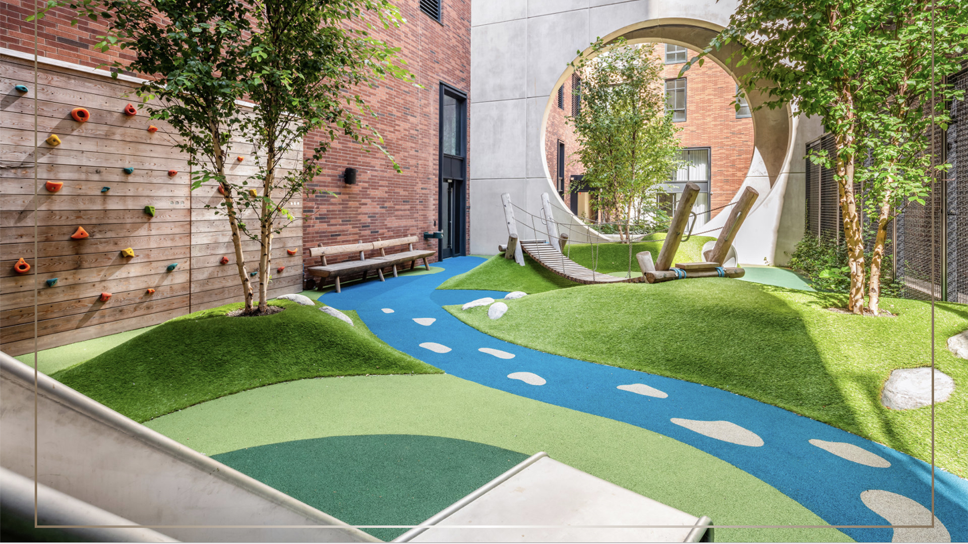 artificial lawn for rooftop playground