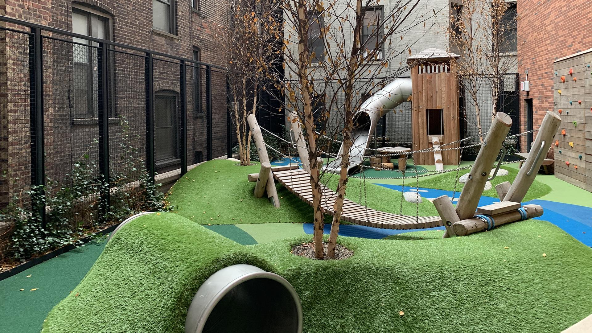 artificial grass, playground rooftop