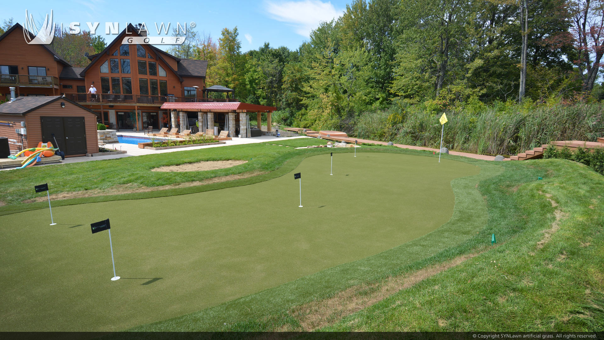 residential putting green in backyard Indiana