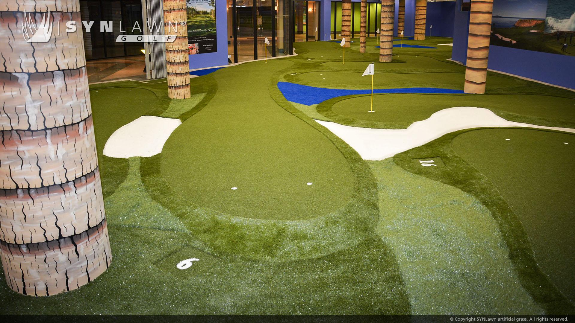 artificial grass putting green indoors