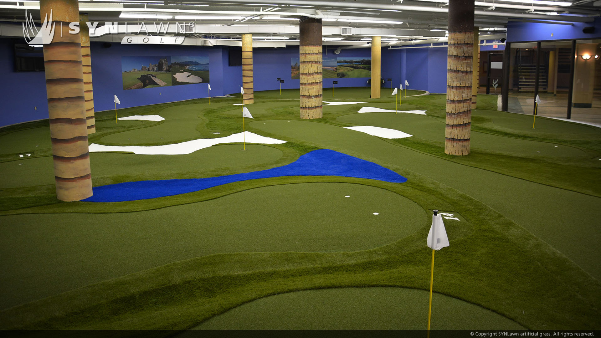 commercial putting green indoors, artificial grass