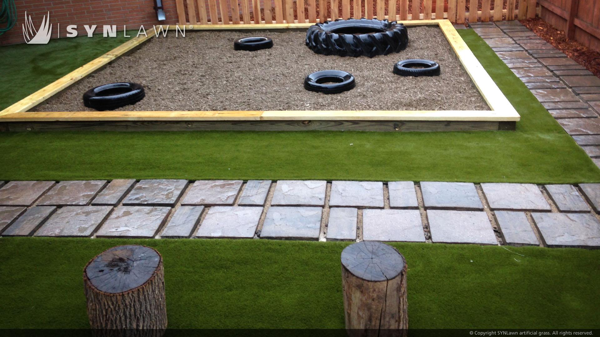 synlawn artificial grass play backyard sandbox