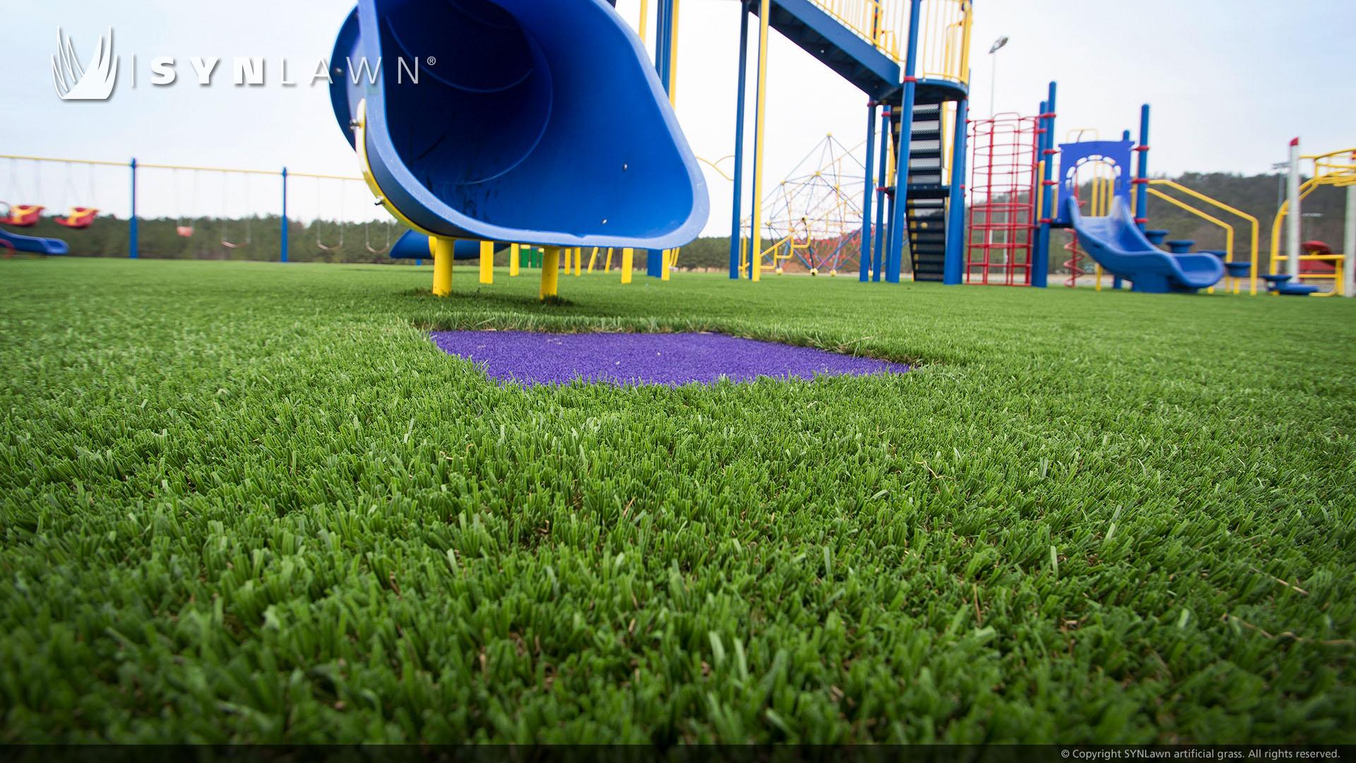public park artificial grass on playground