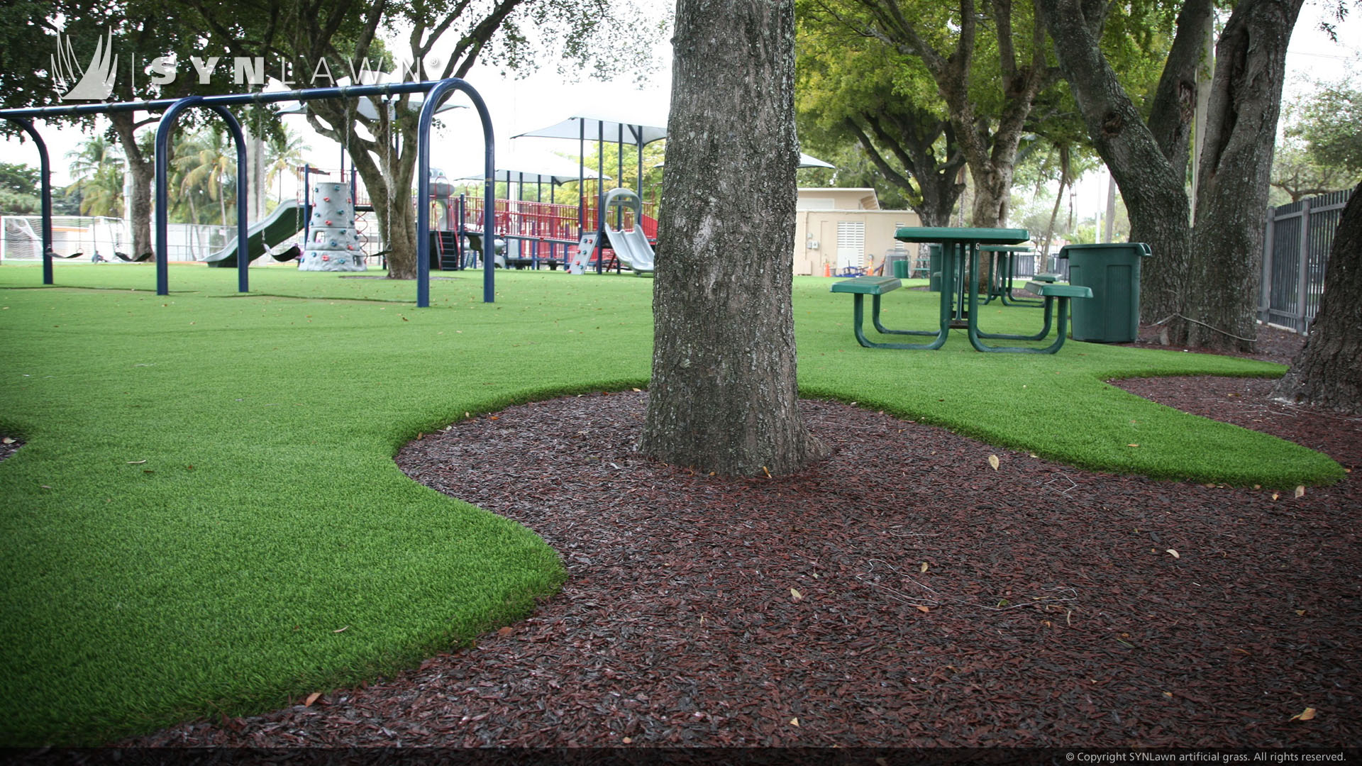 artificial grass at public park playground