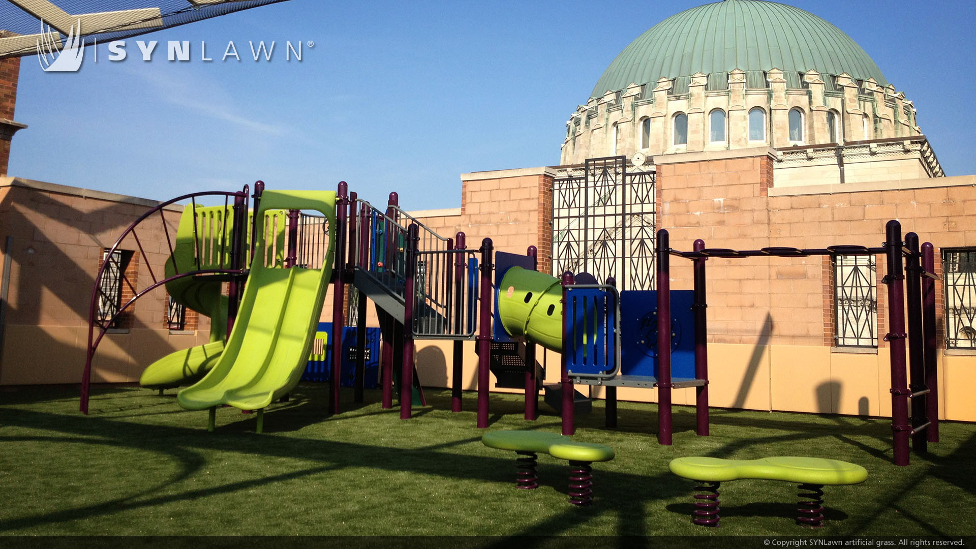 install rooftop artificial grass playground