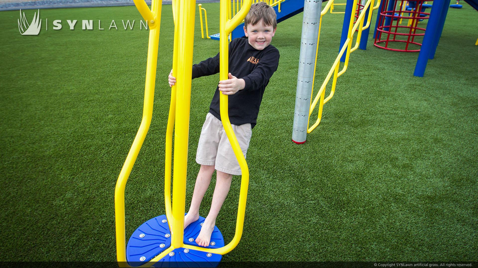 school playground artificial grass installation