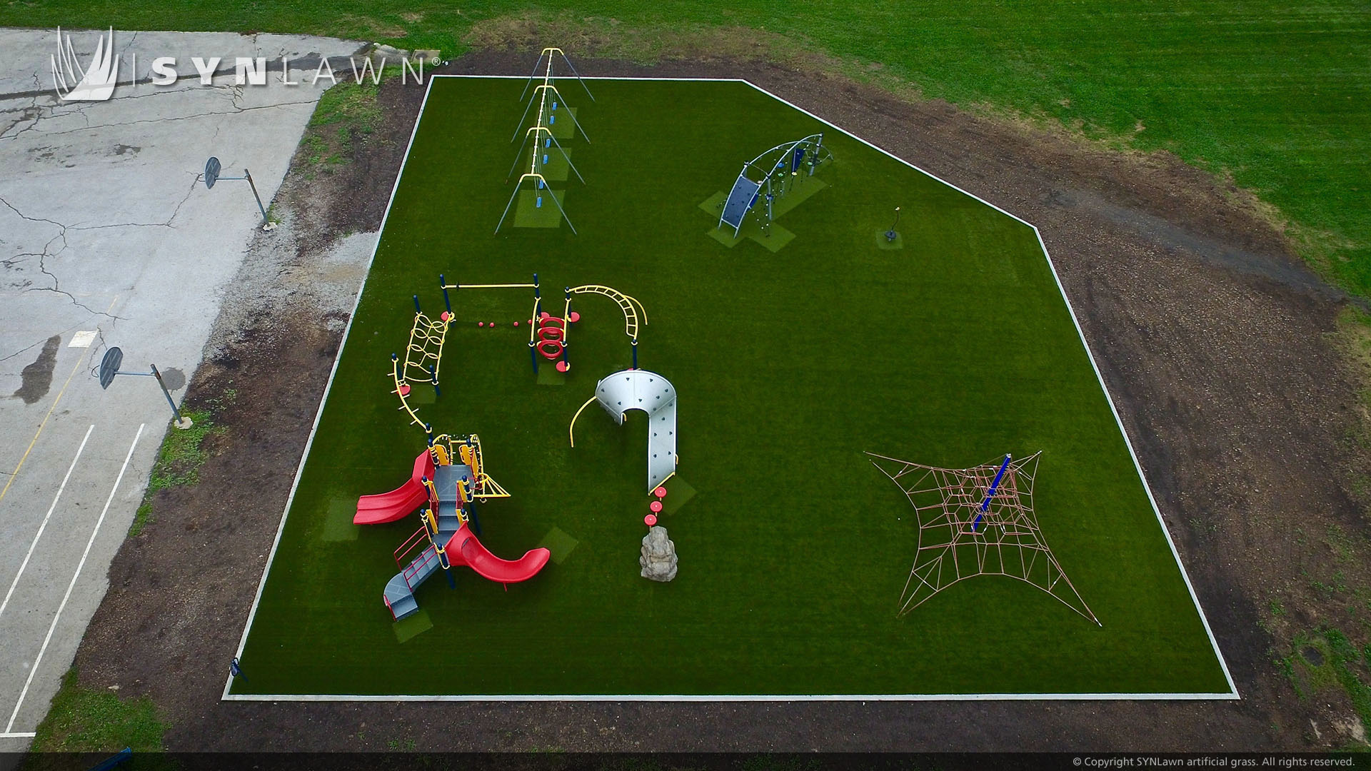 artificial grass install for school playground