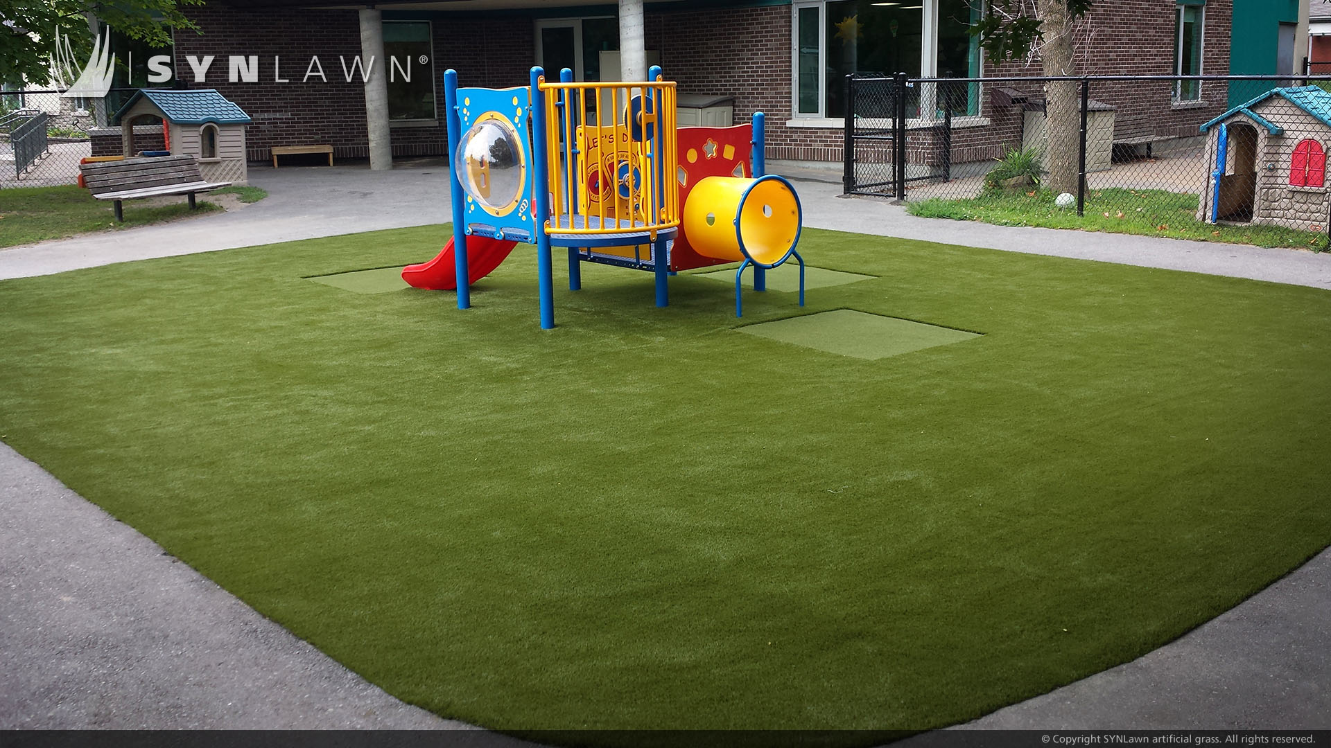 playground with artificial grass for school
