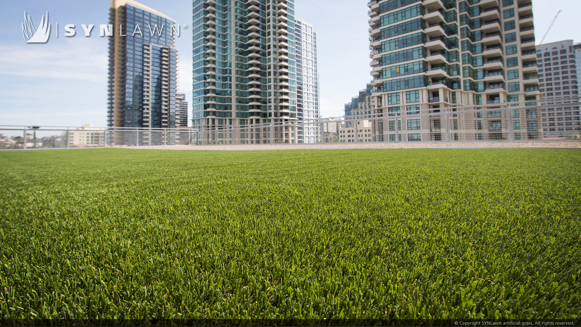 artificial grass installation for synlawn rooftop