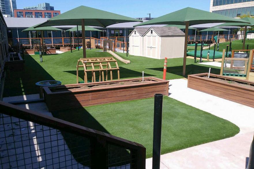 playground artificial grass installation