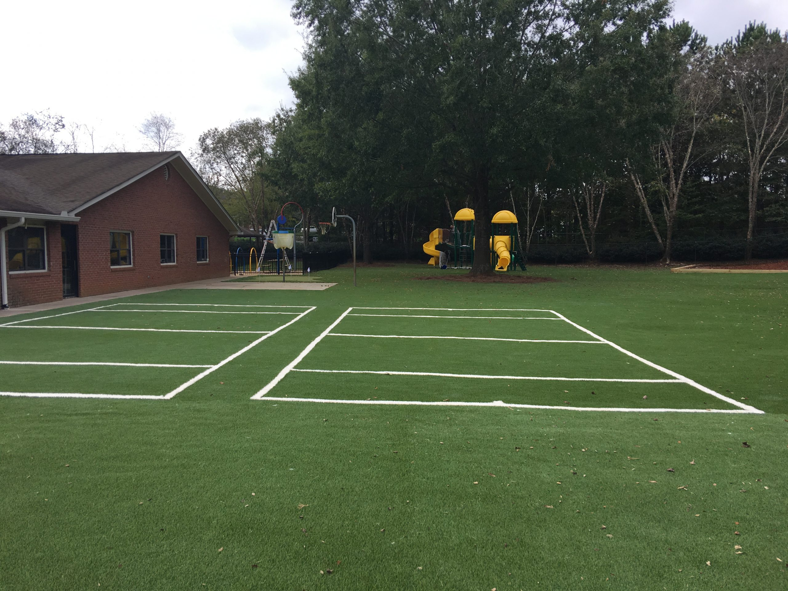 artificial lawn, installation for playground
