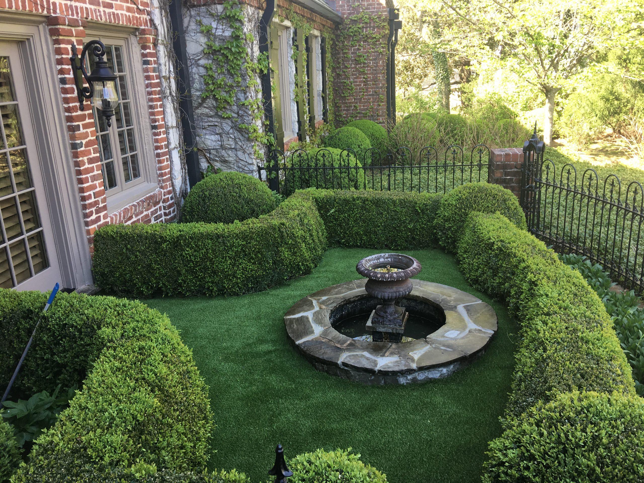 Artificial grass residential lawn