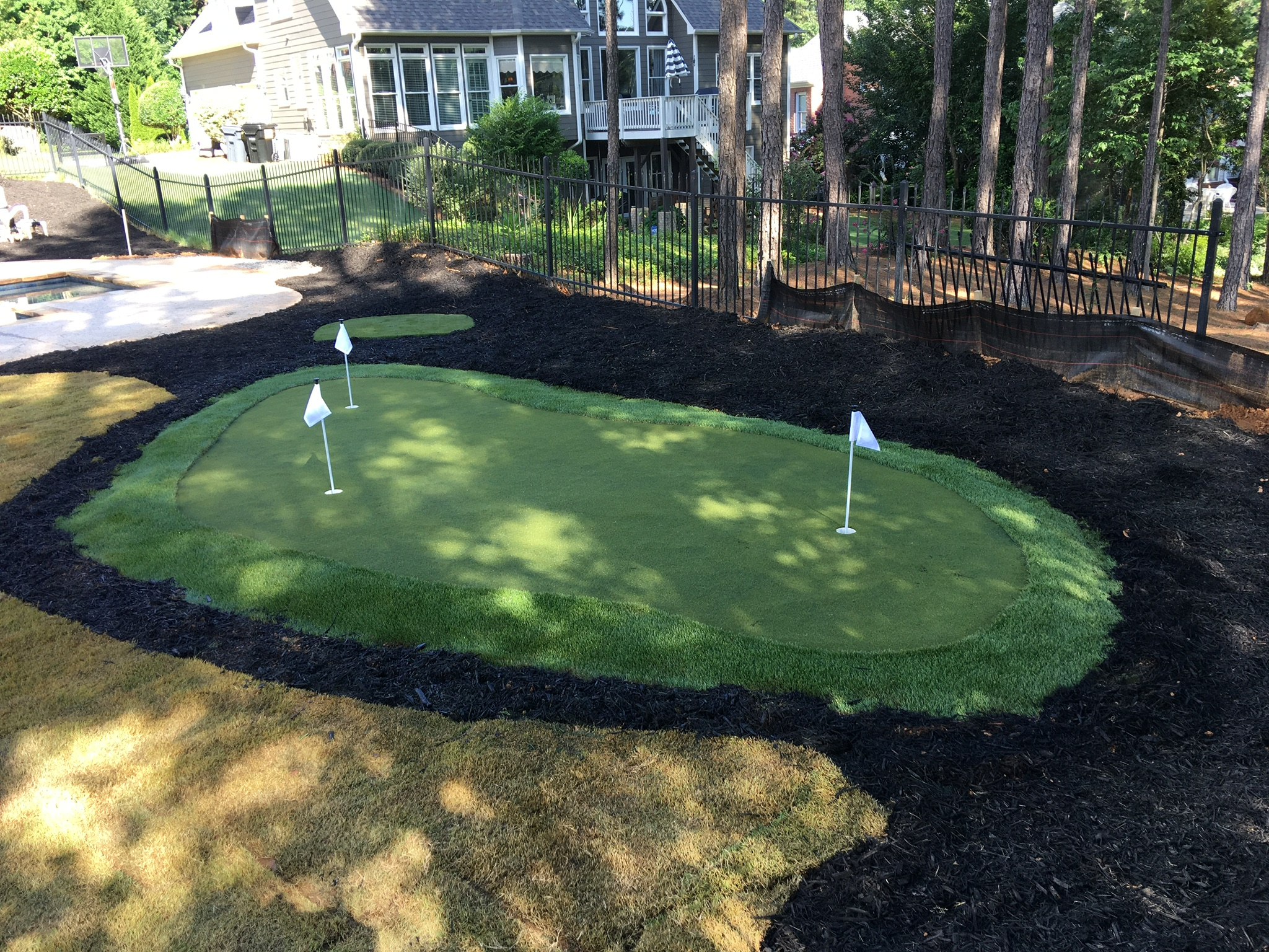 residential putting green backyard Indiana