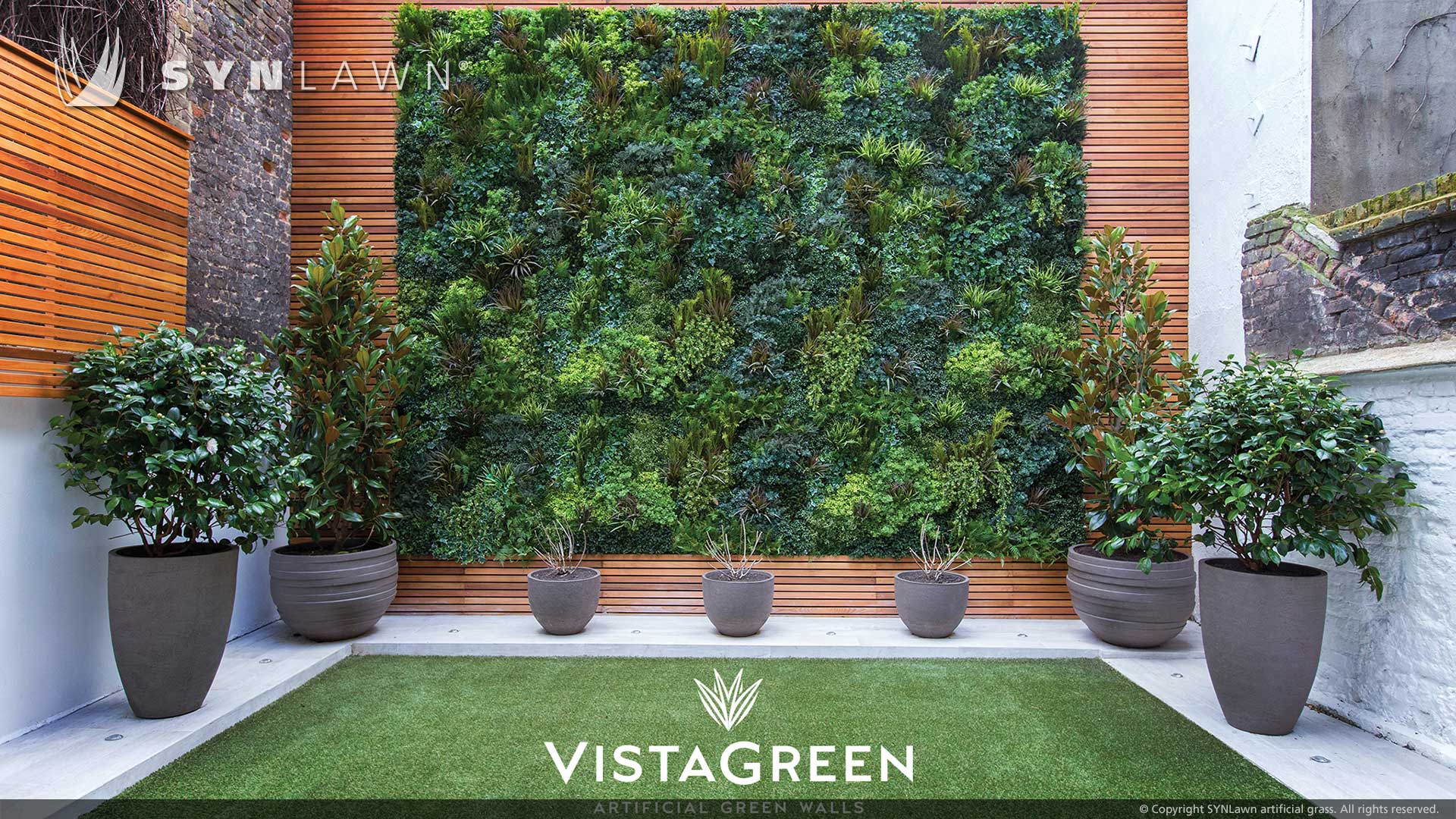 artificial grass and green wall