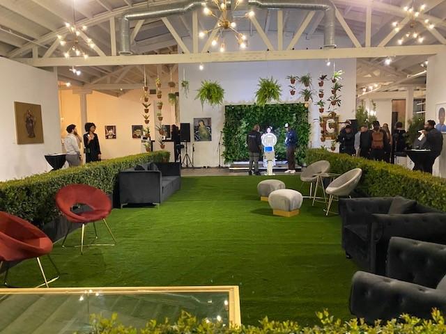 art exhibit with artificial grass