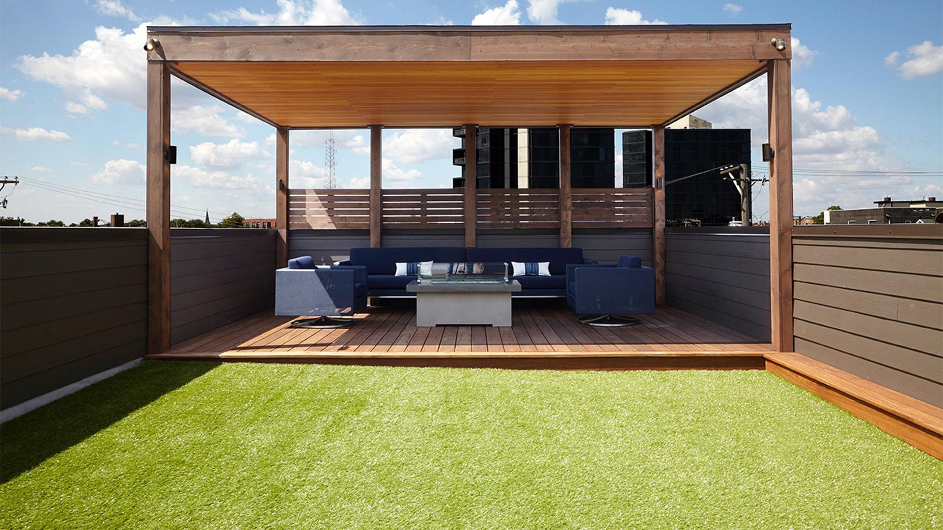 rooftop artificial grass install