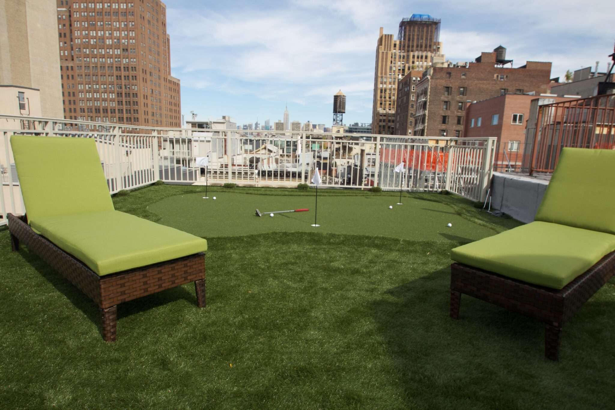 installation of putting green on rooftop