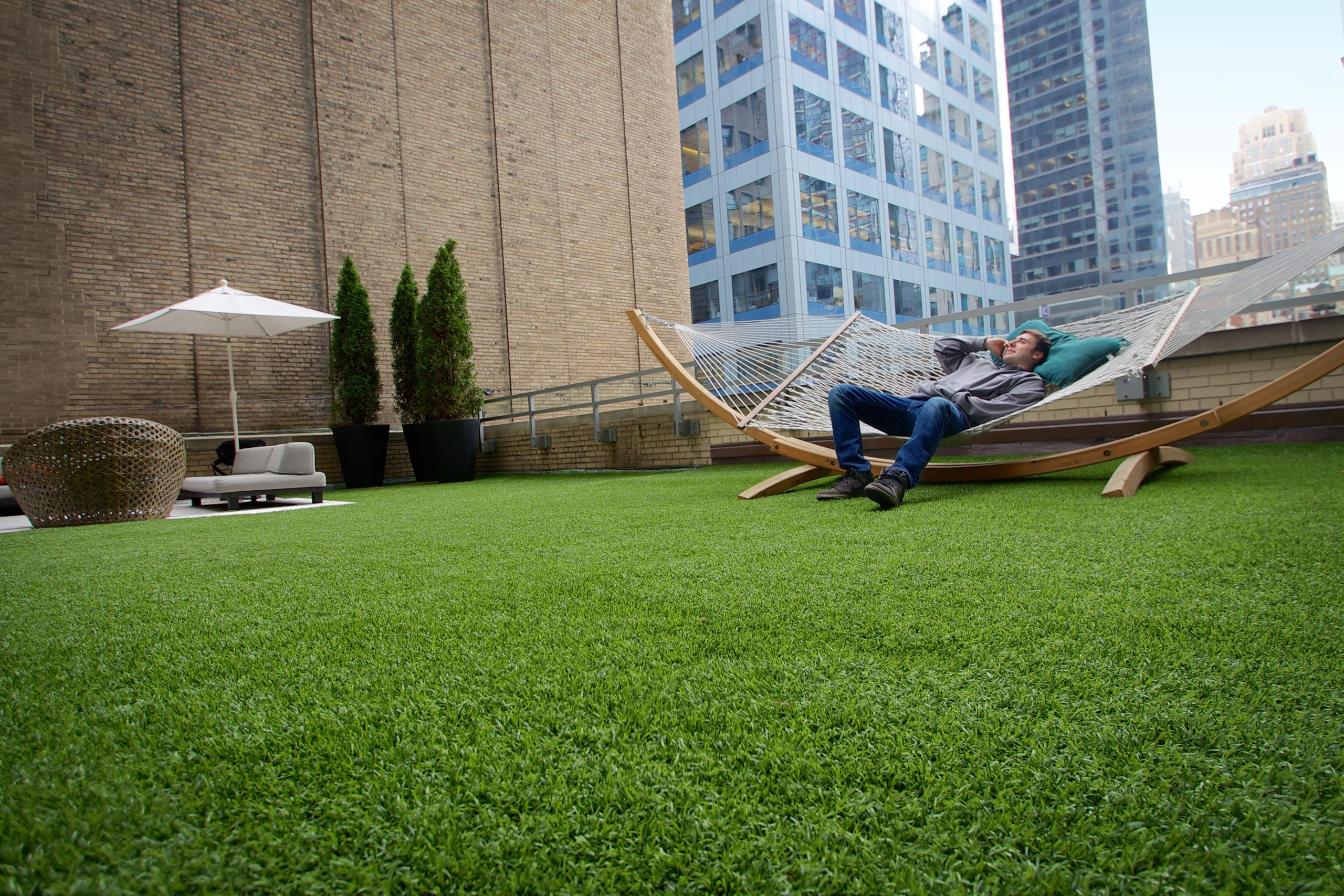 Indiana commercial lawn on rooftop