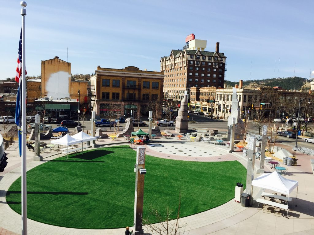 Indiana town center artificial lawn install
