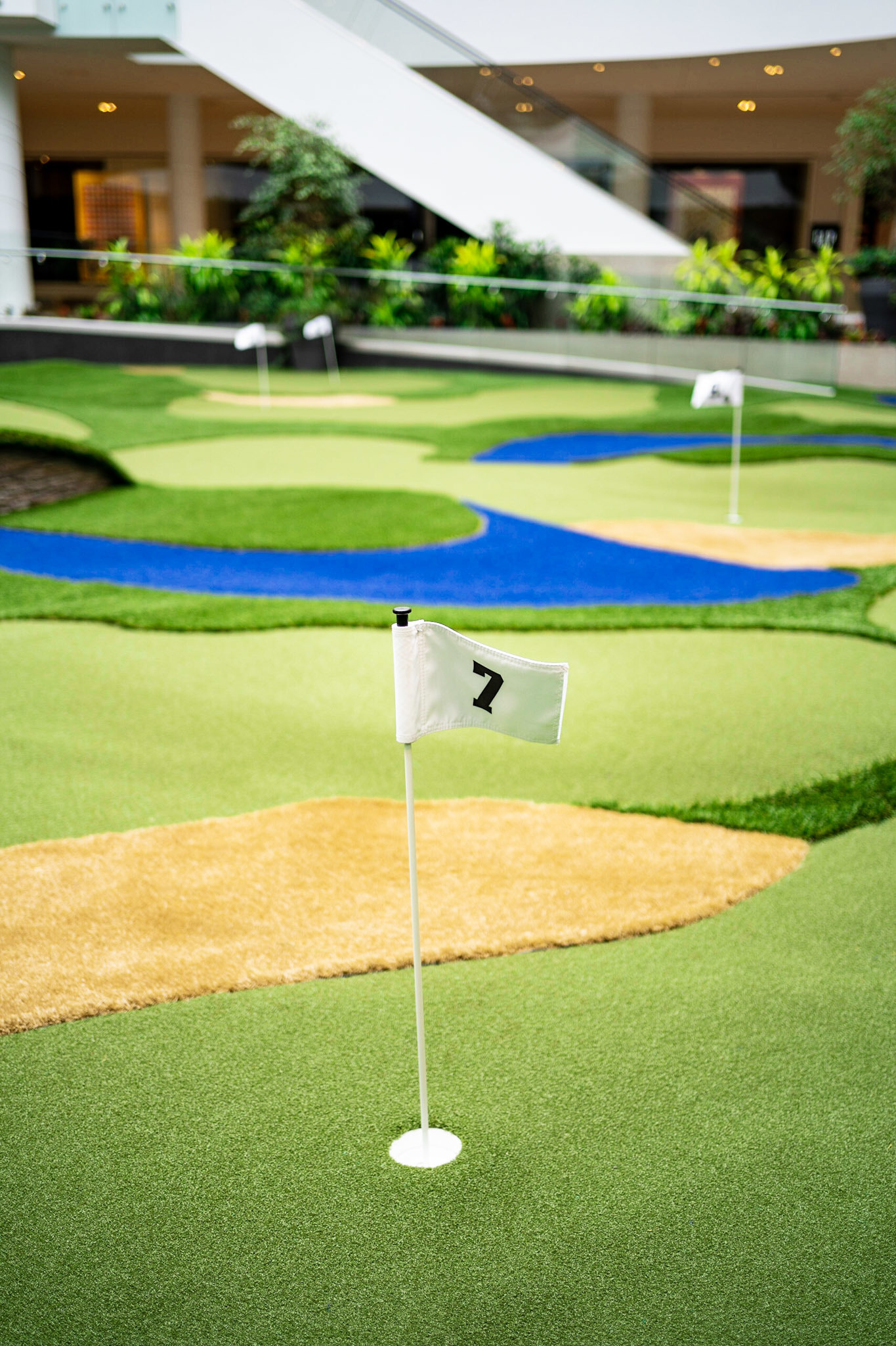 Putting green in mall
