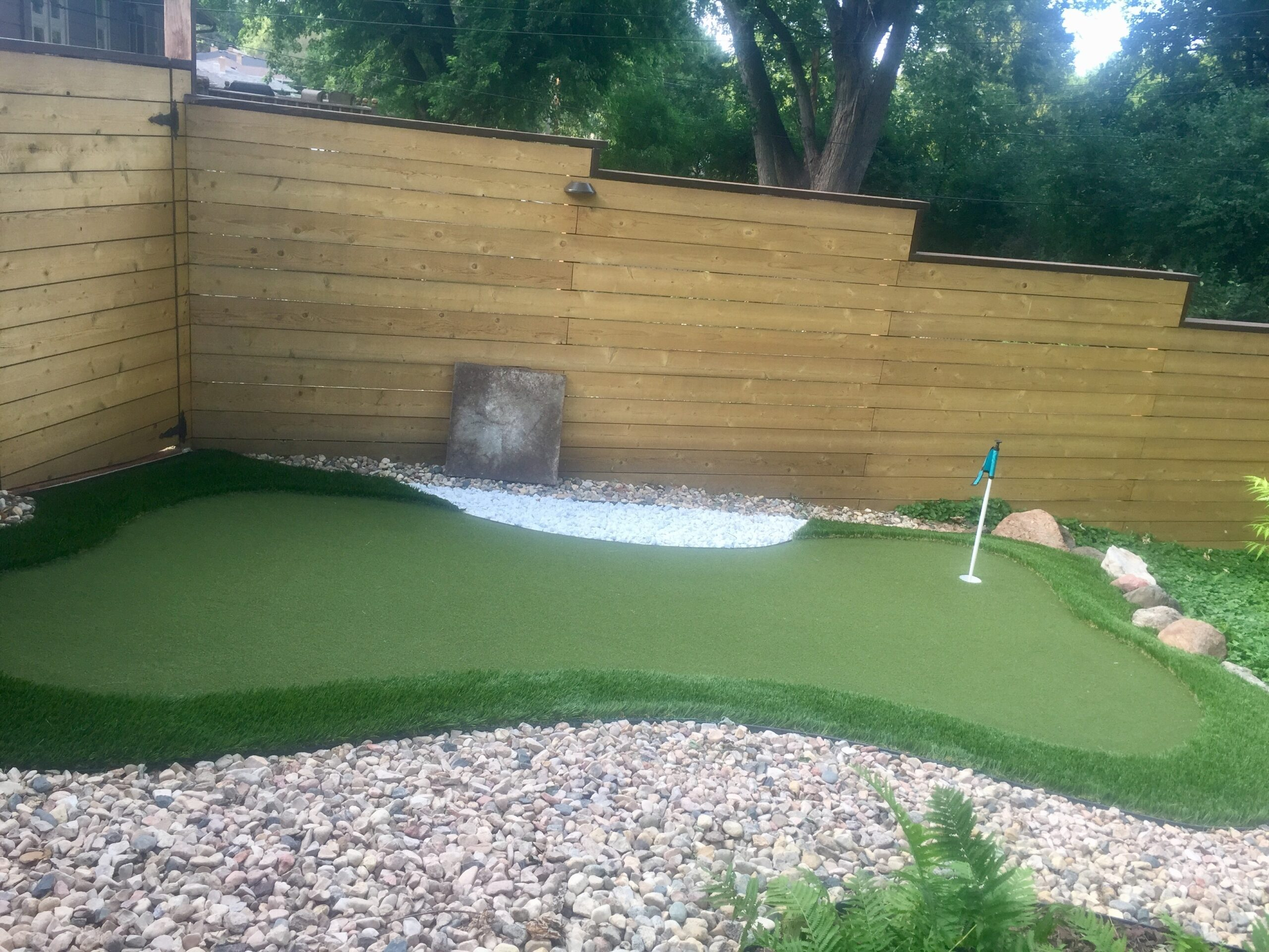 residential Indiana putting green in backyard