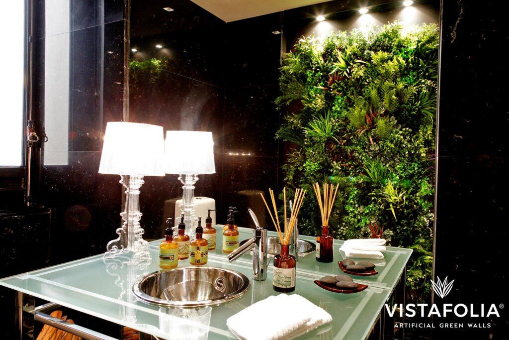 commercial restroom artificial green walls, vistafolia