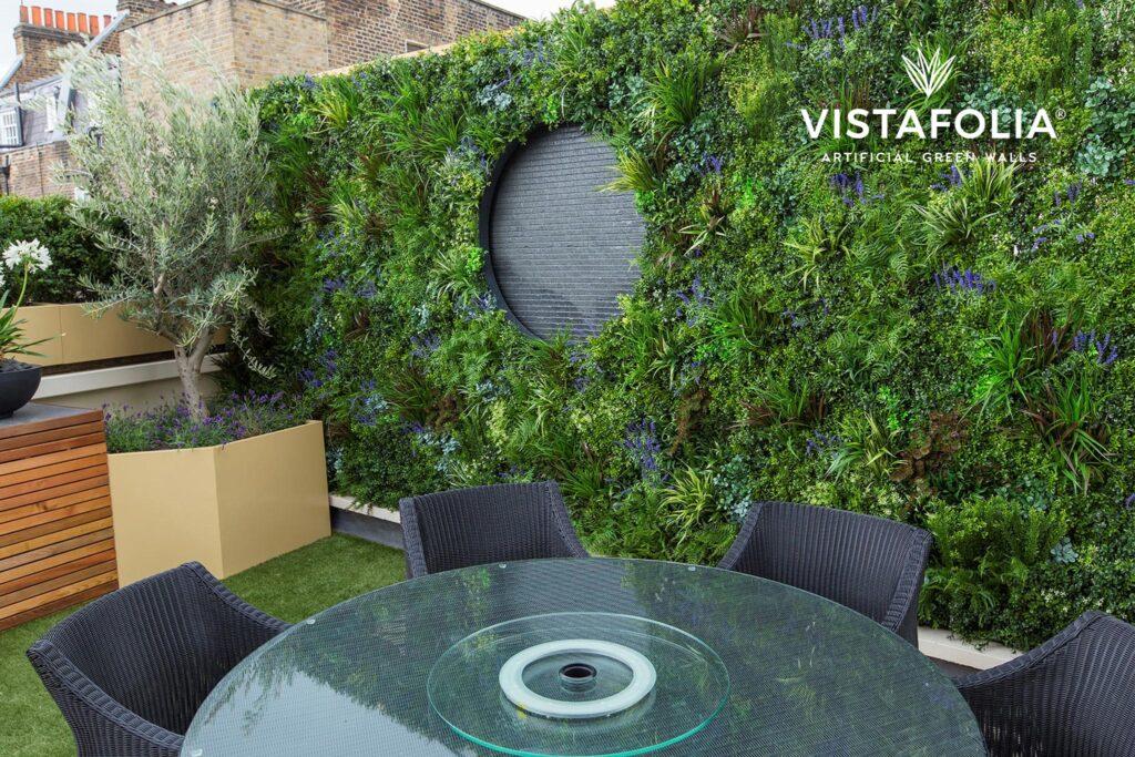 outdoor space, vistafolia artificial green walls