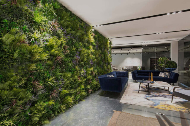 vistafolia, artificial green walls in commercial space