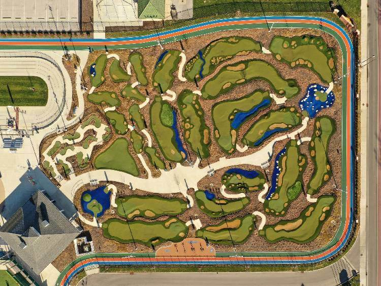 aerial view of synthetic grass golf course
