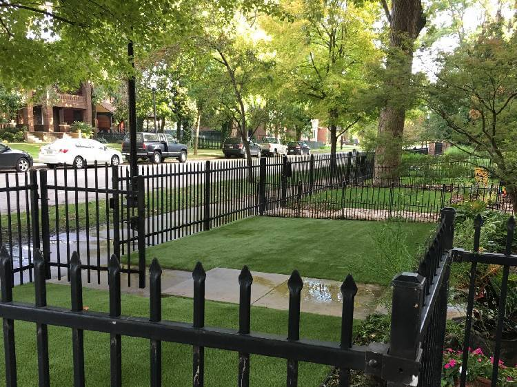 residential lawn in Indiana built with Synlawn artificial turf
