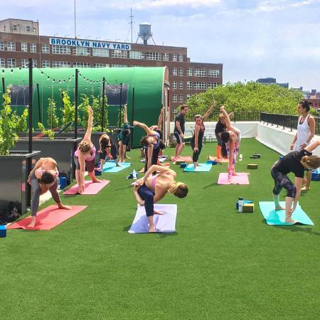 Rooftop yoga studio on SYNLawn artificial grass in Indiana